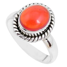 4.06cts natural orange mexican fire opal 925 silver solitaire ring size 8 p41672