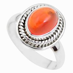 4.42cts natural orange mexican fire opal 925 silver solitaire ring size 7 p41676