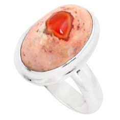 9.10cts natural orange mexican fire opal 925 silver solitaire ring size 8 p76357