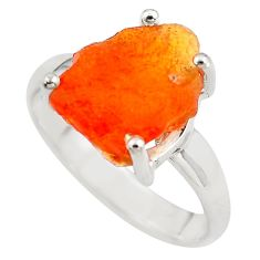 5.84cts natural orange mexican fire opal 925 silver solitaire ring size 8 p84341