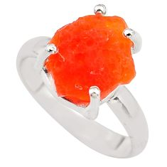 6.43cts natural orange mexican fire opal 925 silver solitaire ring size 8 p84343