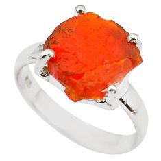 5.46cts natural orange mexican fire opal 925 silver solitaire ring size 7 p84359