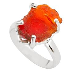6.22cts natural orange mexican fire opal 925 silver solitaire ring size 7 p84369