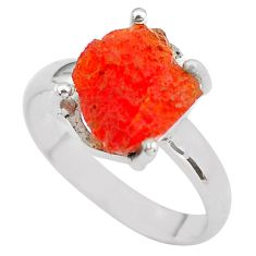 6.22cts natural orange mexican fire opal 925 silver solitaire ring size 8 p84370