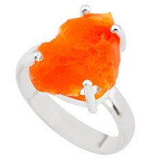 6.43cts natural orange mexican fire opal 925 silver solitaire ring size 7 p84374