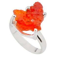 6.43cts natural orange mexican fire opal 925 silver solitaire ring size 7 p84376