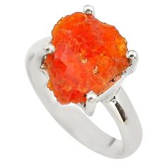 5.54cts natural orange mexican fire opal 925 silver solitaire ring size 7 p84387
