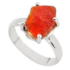 5.54cts natural orange mexican fire opal 925 silver solitaire ring size 8 p84403