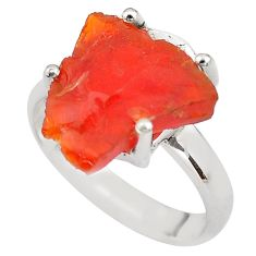6.22cts natural orange mexican fire opal 925 silver solitaire ring size 7 p84410