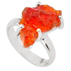 7.15cts natural orange mexican fire opal 925 silver solitaire ring size 7 p84414