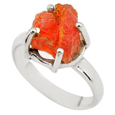 5.84cts natural orange mexican fire opal 925 silver solitaire ring size 8 p84418