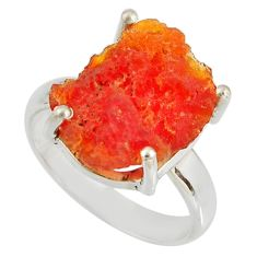 5.90cts natural orange mexican fire opal 925 silver solitaire ring size 7 p90142