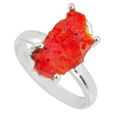 5.84cts natural orange mexican fire opal 925 silver solitaire ring size 9 p90143