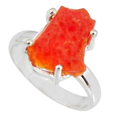 5.63cts natural orange mexican fire opal 925 silver solitaire ring size 9 p90146