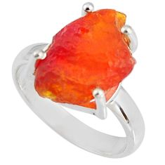 5.45cts natural orange mexican fire opal 925 silver solitaire ring size 7 p90149