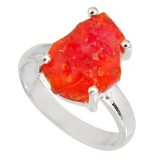 5.21cts natural orange mexican fire opal 925 silver solitaire ring size 7 p90162