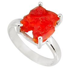 5.45cts natural orange mexican fire opal 925 silver solitaire ring size 9 p90167
