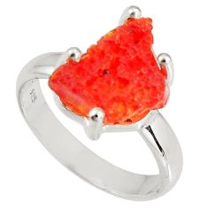 5.15cts natural orange mexican fire opal 925 silver solitaire ring size 7 p90168