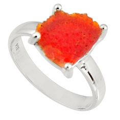 4.24cts natural orange mexican fire opal 925 silver solitaire ring size 8 p90170