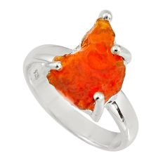 4.75cts natural orange mexican fire opal 925 silver solitaire ring size 7 p90175