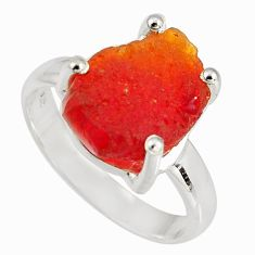 5.33cts natural orange mexican fire opal 925 silver solitaire ring size 8 p90178