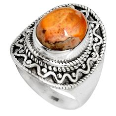 4.82cts natural orange mexican fire opal 925 silver solitaire ring size 8 p90501