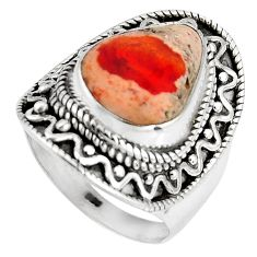 6.89cts natural orange mexican fire opal 925 silver solitaire ring size 7 p90502