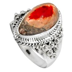 6.02cts natural orange mexican fire opal 925 silver solitaire ring size 8 p90506