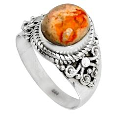 4.46cts natural orange mexican fire opal 925 silver solitaire ring size 8 p90507