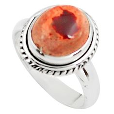 5.12cts natural orange mexican fire opal 925 sterling silver ring size 8 p76319