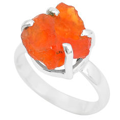 7.60cts natural orange mexican fire opal silver solitaire ring size 8.5 p31963