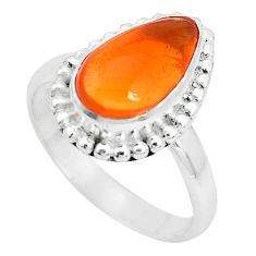 6.03cts natural orange mexican fire opal silver solitaire ring size 9.5 p31973