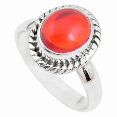 3.62cts natural orange mexican fire opal silver solitaire ring size 6.5 p41678