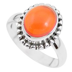 4.28cts natural orange mexican fire opal silver solitaire ring size 6.5 p41680