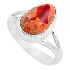 4.90cts natural orange mexican fire opal silver solitaire ring size 8.5 p61705