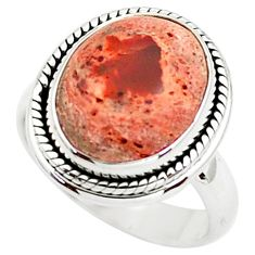 8.70cts natural orange mexican fire opal silver solitaire ring size 7.5 p76327