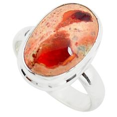 10.60cts natural orange mexican fire opal silver solitaire ring size 8 p76329