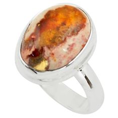 8.77cts natural orange mexican fire opal silver solitaire ring size 7.5 p76339