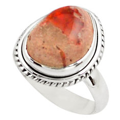 7.22cts natural orange mexican fire opal silver solitaire ring size 8.5 p76346