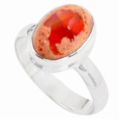 5.28cts natural orange mexican fire opal silver solitaire ring size 8.5 p76358