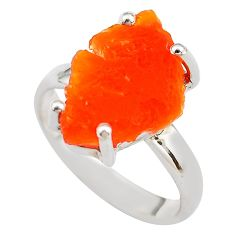6.19cts natural orange mexican fire opal silver solitaire ring size 7.5 p84346