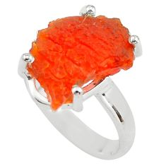 6.19cts natural orange mexican fire opal silver solitaire ring size 6.5 p84348
