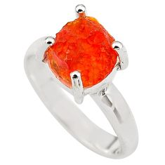 4.89cts natural orange mexican fire opal silver solitaire ring size 6.5 p84361