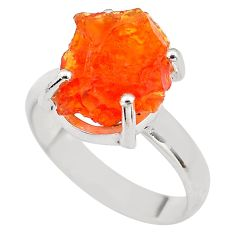 5.90cts natural orange mexican fire opal silver solitaire ring size 6.5 p84372