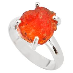 5.54cts natural orange mexican fire opal silver solitaire ring size 6.5 p84389