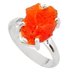 6.39cts natural orange mexican fire opal silver solitaire ring size 8.5 p84394