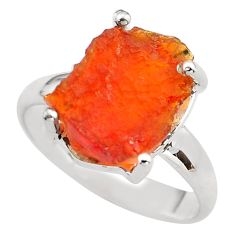 5.84cts natural orange mexican fire opal silver solitaire ring size 7.5 p84395