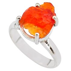 5.84cts natural orange mexican fire opal silver solitaire ring size 7.5 p84401