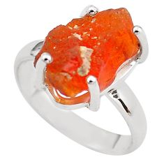 6.39cts natural orange mexican fire opal silver solitaire ring size 7.5 p84402
