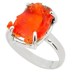6.82cts natural orange mexican fire opal silver solitaire ring size 9.5 p84405
